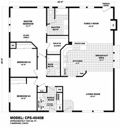 Homes Direct Modular Homes - Model CPS4040B - Floorplan