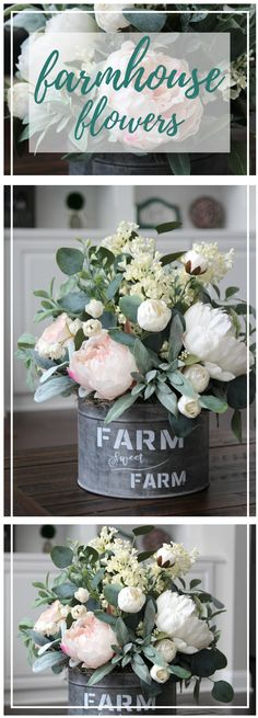 Farmhouse Spring Centerpiece! Love the peonies and adorable galvanized tin. #rusticfarmhousedecor #farmhousedecor #springfarmhouse #diycenterpiece #centerpiece #diydecor