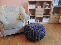 Úžitkový textil - Tmavošedý veľký puf - 3963743_