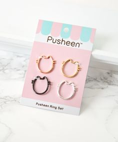 Pusheen Ring Set