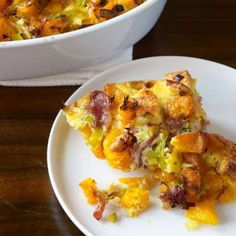 This luscious squash-studded bread pudding is the ideal accompaniment to roasted meats and birds, or... - Provided by TIME Inc.