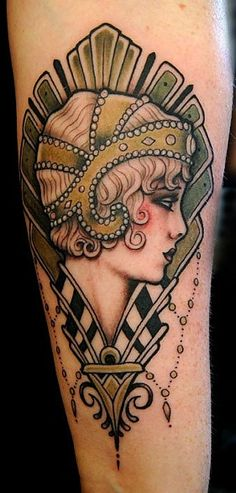flapper girl head by Hunter and Fox Tattoo. gorgeous gorgeous, reminds me of The Great Gatsby