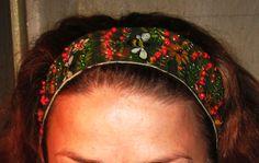 Ободок кожаный,роспись по коже,вышивка бисером,завязки-шифоновый шарфик автор Надежда Майфат