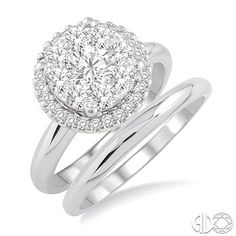 1/2 Ctw Diamond Wedding Set with 1/2 Ctw Lovebright Round Cut Engagement Ring and Wedding Band in 14K White Gold