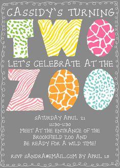 Zoo Birthday Party Invitation Digital File, $12.00