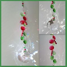 Sun Catcher Cranberries and Holly with Swarovski Crystals #suncatcher #crystal #Christmas