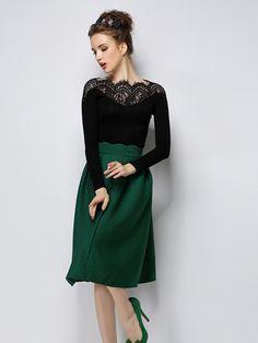 Black Lace Panel Tight Long Sleeve T-shirt | Choies