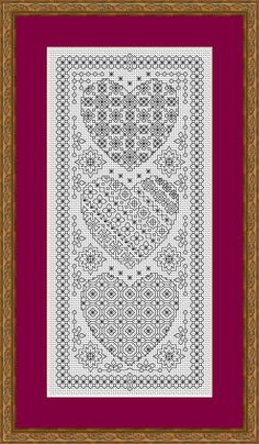 Blackwork Embroidery Chart ~ Heart Sampler ~ PDF Chart