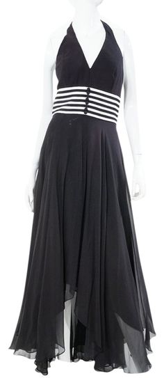 Chetta B Formal Black White Stripe Nautical Halter Full Length Dress Gown. Excellent gently used condition with light overall wear. Size US Silk, Dry Clean Only. Black White Stripes, Black And White, Full Length Gowns, Luxury Fashion, Silk, Nautical, Formal Dresses, Gown Dress, How To Wear