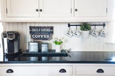 Is your kitchen overflowing with clutter? Here's how to accessorize a kitchen counter so it's neat, tidy and an incredibly stylish part of your home! Coffee Counter, Coffee Bars In Kitchen, Counter Tops, Counter Space, Apartment Decoration, Home Coffee Stations, Up House, Farm House, Functional Kitchen