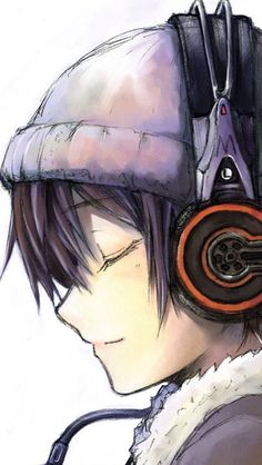 Anime headphones dark hair beanie.Is this a guy or a girl I really can't tell.They have boy hair but girly lips.
