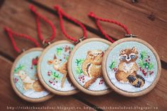 "Вышивка на ладони: Janlynn ""Woodland Creatures Ornaments"" и наша елка..."
