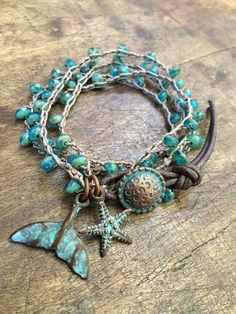 Turquoise Beaded Knotted Wrap Crochet Bracelet, Rustic Starfish - Whale Tail by Two Silver Sisters