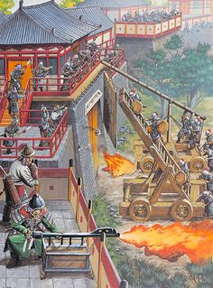 """""""Greek fire, naphtha incendiaries and gas bombs against shields and ladders at Kaifeng, China 1126"""""""