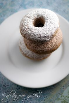 Gluten-Free Cake Donuts Recipe with Powdered Sugar or Cinnamon recipe with 10 calories. Gluten Free Cake Donut Recipe, Gluten Free Donuts, Gluten Free Sweets, Gluten Free Pumpkin, Donut Recipes, Gluten Free Cooking, Dairy Free Recipes, Vegan Sweets, Paleo