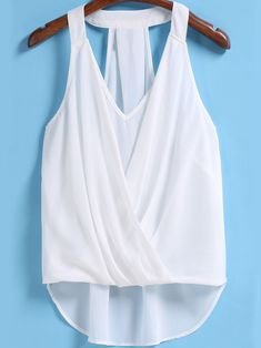 Shop White V Neck Front Cross Chiffon Tank Top online. SheIn offers White V Neck Front Cross Chiffon Tank Top & more to fit your fashionable needs. Blouse Styles, Blouse Designs, Summer Outfits, Cute Outfits, Beachwear Fashion, Stitch Fix Outfits, White V Necks, Mode Hijab, Dress Sewing Patterns
