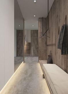 Современный дизайн шкафов-купе в прихожую: 95+ Фото — Идеи для обновления интерьера Entrance Design, Hall Design, House Entrance, Deco Design, Home Interior Design, Interior Architecture, Concrete Interiors, Hallway Designs, Hallway Decorating