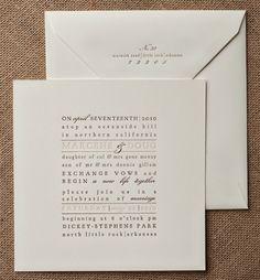 Unique Invitation Wedding Text Letterpress Invitations Typography Square