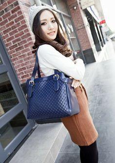 Jennifer Blue Seaside Feeling PU Leather Top-Handle Handbags Single-Shoulder Tote Crossbody Bag Messenger Bags For Women
