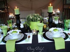 Black, White & Lime Green Tablescape by dining delight, via Flickr