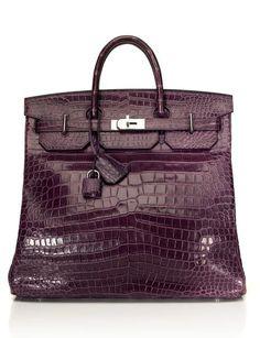 Emmy DE * Hermès 40cm Matte Amethyst Porosus Crocodile Travel Birkin