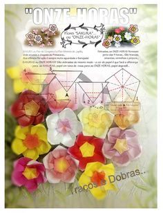 printable papers (various small coloured pentagons) for ELEVEN-HOUR flowers and sakura, Book Origami Blossom of Flaviane Koti and Vera Young,