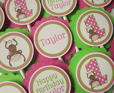 Cupcake toppers for 1st birthday party!