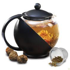 Half Moon Teapot Gift Set with 3 Flowering Teas - Black