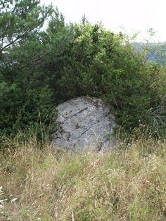 Bolo en medio de un antiguo campo de cultivo abandonado, entre varios túmulos o espedregales alrededor.