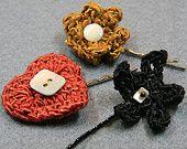 Set de 3 bijoux de cheveux, mélange : 1 coeur, 1 fleur, 1 étoile
