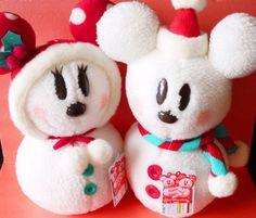2016 Tokyo Disney Christmas Snowman Mickey Minnie mouse plush toys set Japan new #Disney