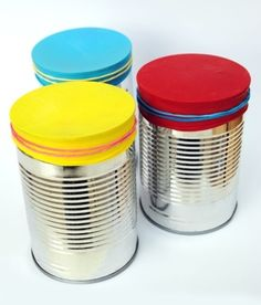 Make drums out of old soup or coffee cans! for sound beginnings http://letsplaymusicsite.com