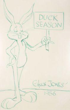 "Animation Art:Production Drawing, Chuck Jones ""Bugs Bunny - Duck Season"" Oversized Sketch (1... Image #1    WABBIT Season. Can you imagine having this?"