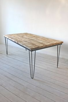 Reclaimed Grey Washed Scaffolding Board Dining Table With Dark Steel Hairpin…