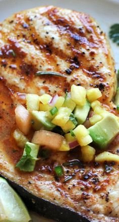 Grilled Swordfish with Smoked Paprika and Herbed Fruit Salsa | Recipe