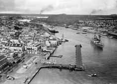 Annabaai circa 1935. Notice the absence of Rouvilleweg. Otrobanda, Willemstad, Curaçao