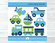Transportation Vehicles Car Truck Sailboat Airplane Train Clipart PERSONAL USE Instant Download