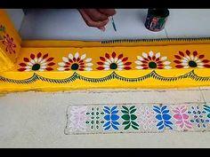 Rangoli Side Designs, Simple Rangoli Designs Images, Rangoli Patterns, Free Hand Rangoli Design, Rangoli Designs With Dots, Beautiful Rangoli Designs, Pottery Painting Designs, Paint Designs, Welcome Home Decorations