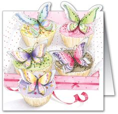 Birthday Cupcakes. Our best-selling card ever! This design features pop-out wings with added flitter for maximum impact.