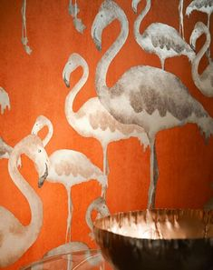 A whole flock of flamingoes finds its way into the room via our gorgeous non-woven wallpaper Amidala. These elegant animals in various sizes on a b. Cloakroom Wallpaper, Wallpaper Decor, Bathroom Wallpaper, Wallpaper Samples, Pattern Wallpaper, Grey Orange Wallpaper, Orange Tapete, Flamingo Wallpaper, Flamingo Beach