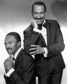 The Nicholas Brothers, legendary dancing brothers Fayard & Harold. With their acrobatic technique (flash dancing), high level of artistry & daring innovations, they are two of the greatest tap dancers ever. They became stars during the Harlem Renaissance and had successful careers on stage, film, & TV. Their signature moves include: leapfrogging with a split down a flight of stairs; dancing on a piano in a call & response act with the pianist; rising from a split without hands. R.I.P…