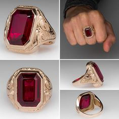 Vintage Created Ruby Bold Mens Ring. Click on picture to see up close the beautiful gold carving.