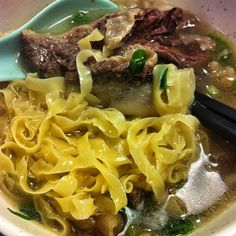 Beef brisket noodle soup at Kau Kee a very popular eatery in Hong Kong. Very cheap but received a Bib Gourmand on the Michelin Guide. 21 Gough Street in Sheung Wan