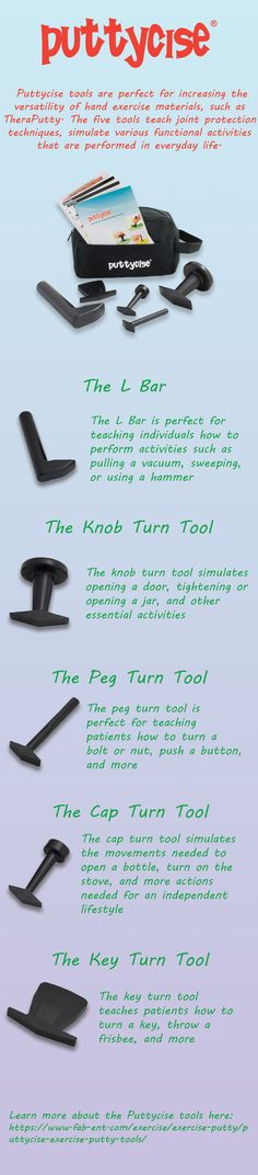 Puttycise tools increase the versatility of exercise putty.