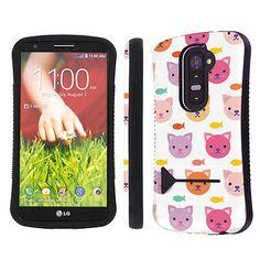 LG G2 Shock Absorbent Tough Grip Kickstand Bk Case - Kitty Cat
