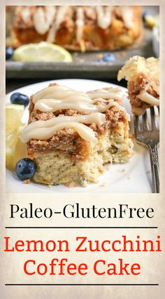 This Paleo Lemon Zucchini Coffee Cake is tender, moist, and has the best crumb topping! It's gluten free, dairy free, and is sure to become a new favorite! This coffee cake was the result of Paleo Dessert, Paleo Sweets, Gluten Free Desserts, Gluten Free Recipes, Healthy Desserts, Baked Apple Dessert, Apple Dessert Recipes, Healthy Cake, Paleo Food