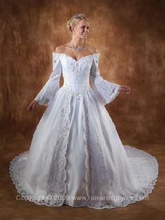 irish wedding gown I like the off the shoulder look of this dress. Some things I… Funky Wedding Dresses, Irish Wedding Dresses, Renaissance Wedding Dresses, Making A Wedding Dress, Plus Size Wedding Gowns, Medieval Wedding, Celtic Wedding, Gown Wedding, Lace Wedding