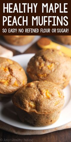 Healthy Small-Batch Maple Peach Muffins – an easy clean-eating recipe with the same flavors as peach pie! These skinny muffins have the same texture as cupcakes! ♡ easy greek yogurt peach muffins recipe. peach muffins with fresh or canned peaches. low calorie peach breakfast muffins. Healthy Peach Muffins, Peach Recipes Breakfast, Peach Muffin Recipes, Skinny Muffins, Fresh Peach Recipes, Simple Muffin Recipe, Healthy Breakfast Muffins, Healthy Muffin Recipes, Healthy Dessert Recipes