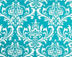 Teal Velvet Fabric | Damask Home Decor Fabric by the Yard Ozborne True Turquoise aqua teal ...