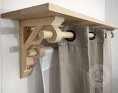 "Single Shelf Bracket Dual Curtain Rod Holder  9"" X 12"" X 2.5"""